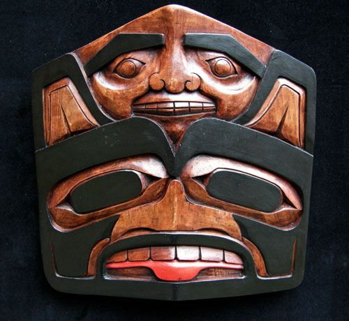 Bear Frontlet with Human Face (Painted) -