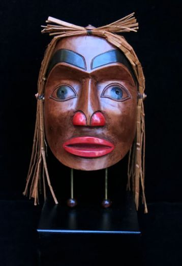 Portrait Mask on Stand with Cedar Bark