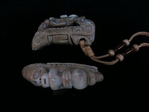 Man on Whale Deerhorn Amulet