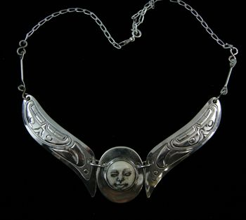 Moonface Choker with Eagle Wings