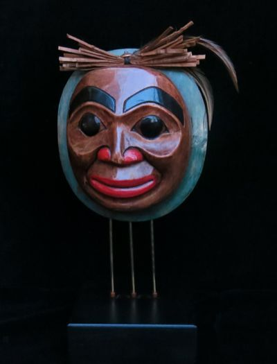 Smiling Moon Mask on Stand with Cedar Bark